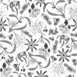 Australian Native Garden - Greyscale on white, large