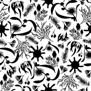 Australian Native Garden - Black silhouettes on white, large