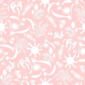 Australian Native Garden - white silhouettes on pastel pink, large