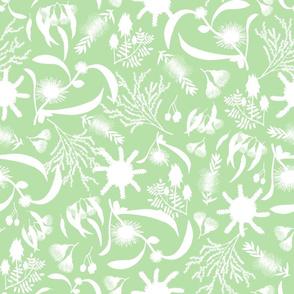 Australian Native Garden - white silhouettes on Mint Green, large