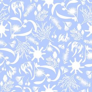 Australian Native Garden - white silhouettes on baby blue, large