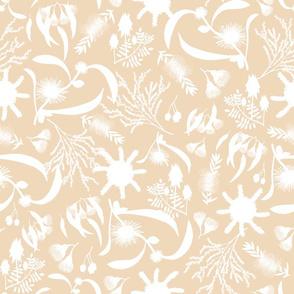 Australian Native Garden - white silhouettes on beige, large