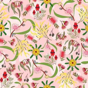 Australian Native Garden - coral pink pattern, large
