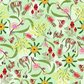 Australian Native Garden - mint green pattern, large