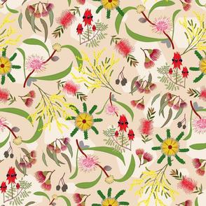 Australian Native Garden - beige pattern, large
