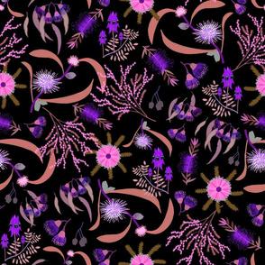 Australian Native Garden #2 (pink/purple) on black, large