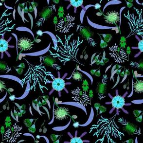 Australian Native Garden #3 (green/blue) on black, large