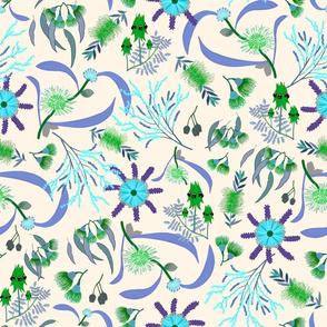 Australian Native Garden #3 (green/blue) on cream, large
