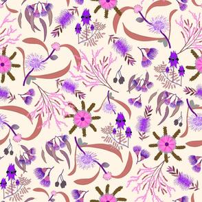 Australian Native Garden #2 (pink/purple) on cream, large