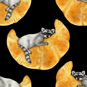 Raccoon on a Crescent Croissant Moon - medium
