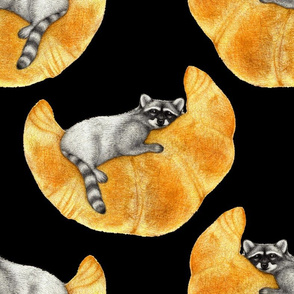 Raccoon on a Crescent Croissant Moon - large