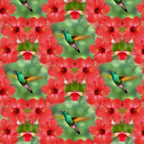 hummingbird in hibiscus - small - painting effect