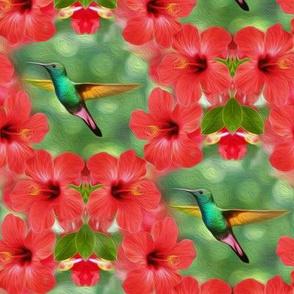 hummingbird in hibiscus - large - painting effect