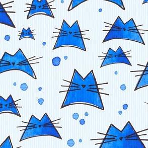 nalu cat watercolor in blue