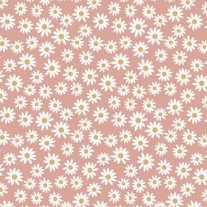 TINY daisy print fabric - daisies, daisy fabric, baby fabric, spring fabric, baby girl, earthy - apricot