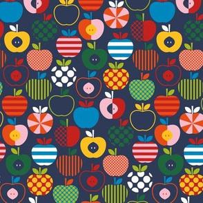 Fun Scandinavian Apples - Navy - SM