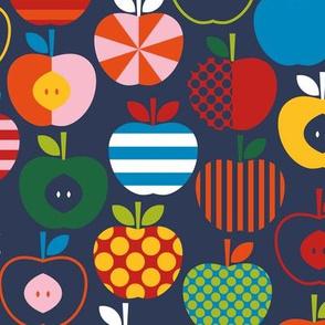 Fun Scandinavian Apples - Navy - MD