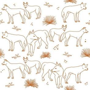 Desert Dingoes in Burnt Orange (Line Art)