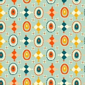 playful geometric folk art // mint // medium scale
