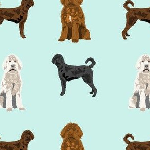 labradoodle fabric - dog fabric, doodle dog - light mint
