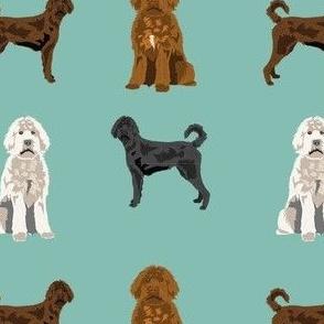 labradoodle fabric - dog fabric, doodle dog - mint