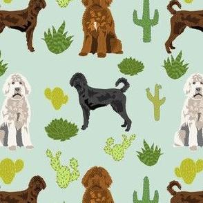 labradoodle cactus fabric - doodle dog fabric -mint