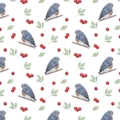 blue bird and ribes