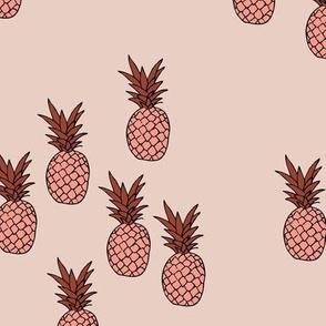 Pineapple garden irregular pineapples fruit for summer neutral coral maroon warm blush girls