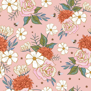 Retro Roses and Cosmos Flowers on Peach
