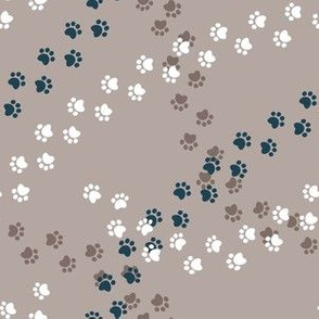 Small scale // Hot dogs chase // brown taupe background brown white and navy blue paw prints