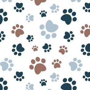 Small scale // Paw prints // white background brown navy blue and pastel blue animal foot prints