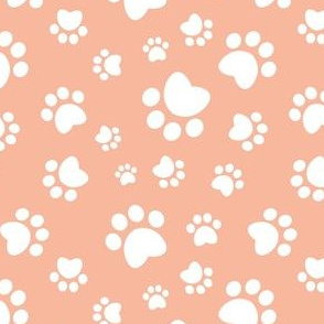 Small scale // Paw prints // flesh coral background white animal foot prints