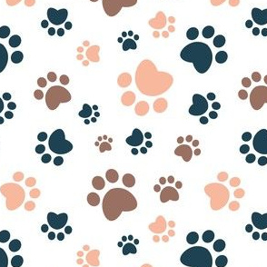 Small scale // Paw prints // white background brown navy blue and flesh coral animal foot prints