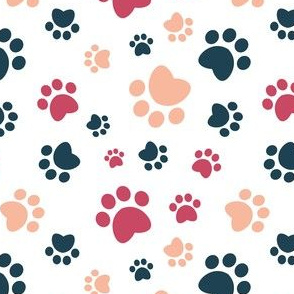 Small scale // Paw prints // white background red navy blue and flesh coral animal foot prints