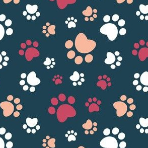 Small scale // Paw prints // navy blue background red white and flesh coral animal foot prints