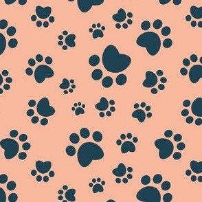 Small scale // Paw prints // flesh coral background navy blue animal foot prints