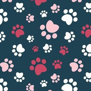 Small scale // Paw prints // navy blue background red white and pink animal foot prints