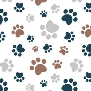 Small scale // Paw prints // white background brown navy blue and grey animal foot prints