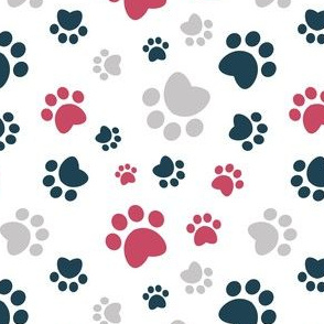 Small scale // Paw prints // white background red navy blue and grey animal foot prints
