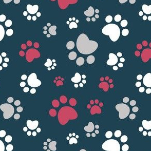 Small scale // Paw prints // navy blue background red white and grey animal foot prints