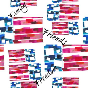 Abstract Watercolor - American Flag (Family, Friends, Freedom)