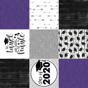 Grad 2020//Purple - Wholecloth Cheater Quilt - Rotated