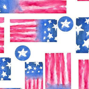 Abstract Watercolor - American Flag 4