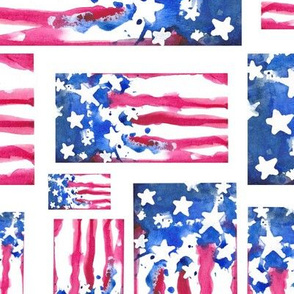 Abstract Watercolor - American Flag 5