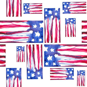 Abstract Watercolor - American Flag 6
