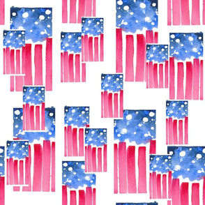 Abstract Watercolor - American Flag 3