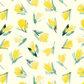 Juliet's tulips - watercolor yellow flowers
