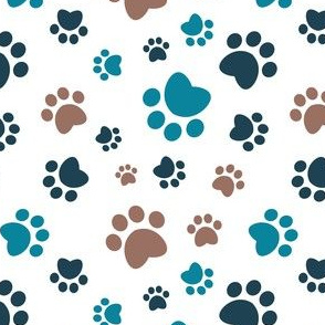 Small scale // Paw prints // white background brown navy blue and turquoise animal foot prints