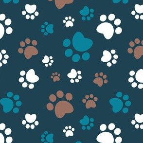 Small scale // Paw prints // navy blue background brown white and turquoise animal foot prints