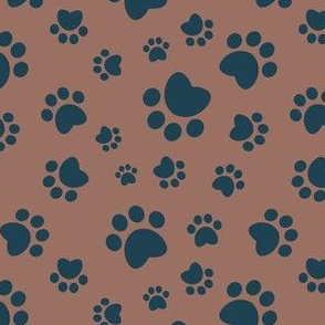 Small scale // Paw prints // brown background navy blue animal foot prints